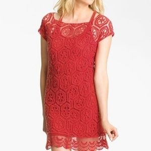 Ella Moss | Red Crochet Overlay Dress